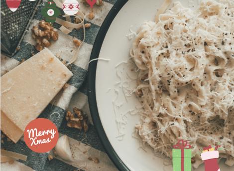 Kerst spaghetti met heerlijke paddenstoelen!